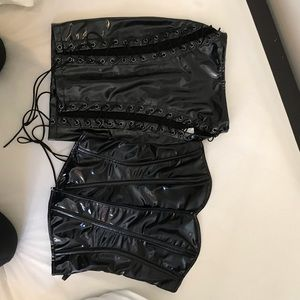 WET LOOK LACE UP SKIRT AND CORSET SET
